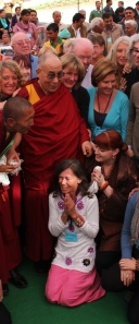 Claire meets His Holiness at the TongLen Hostel opening in Dharamsala India, 2011.